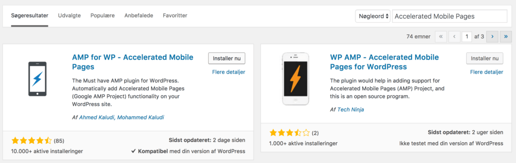Accelerated Mobile Pages wordpress plugin