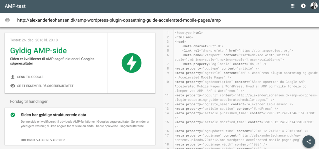 amp wordpress validering